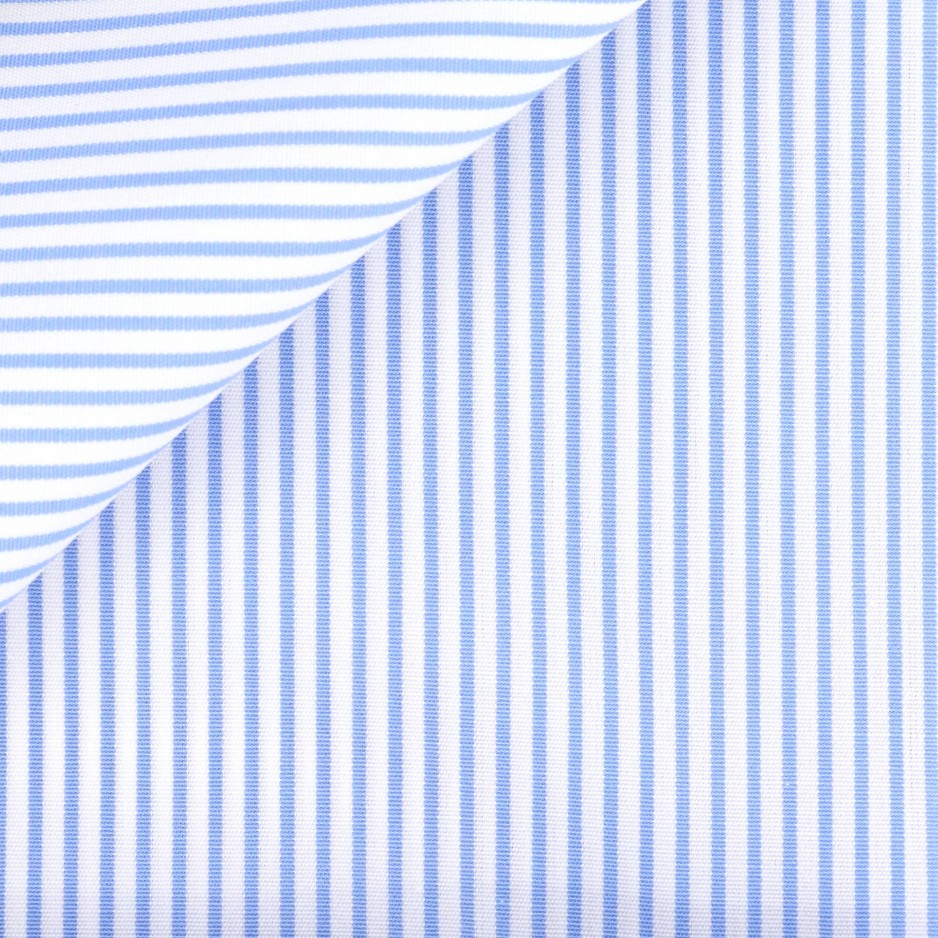 Popeline Rayé Bleu (repassage facile)