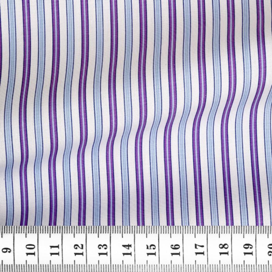 Popeline Rayé Bleu Violet