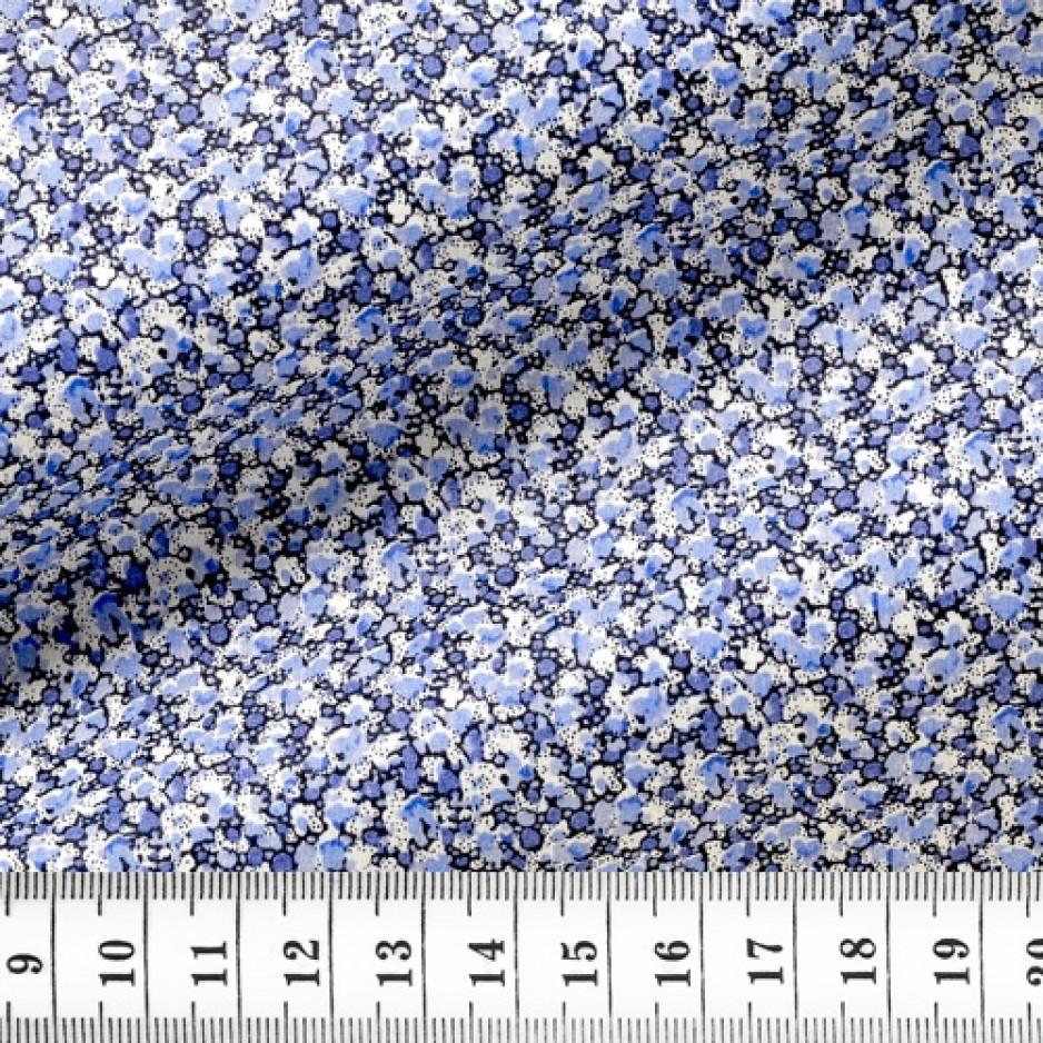 Popeline Motif Bleu Mauve
