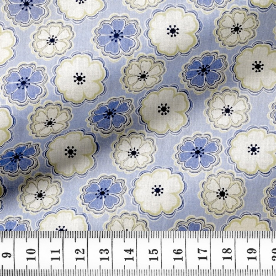 Popeline Motif Bleu Beige