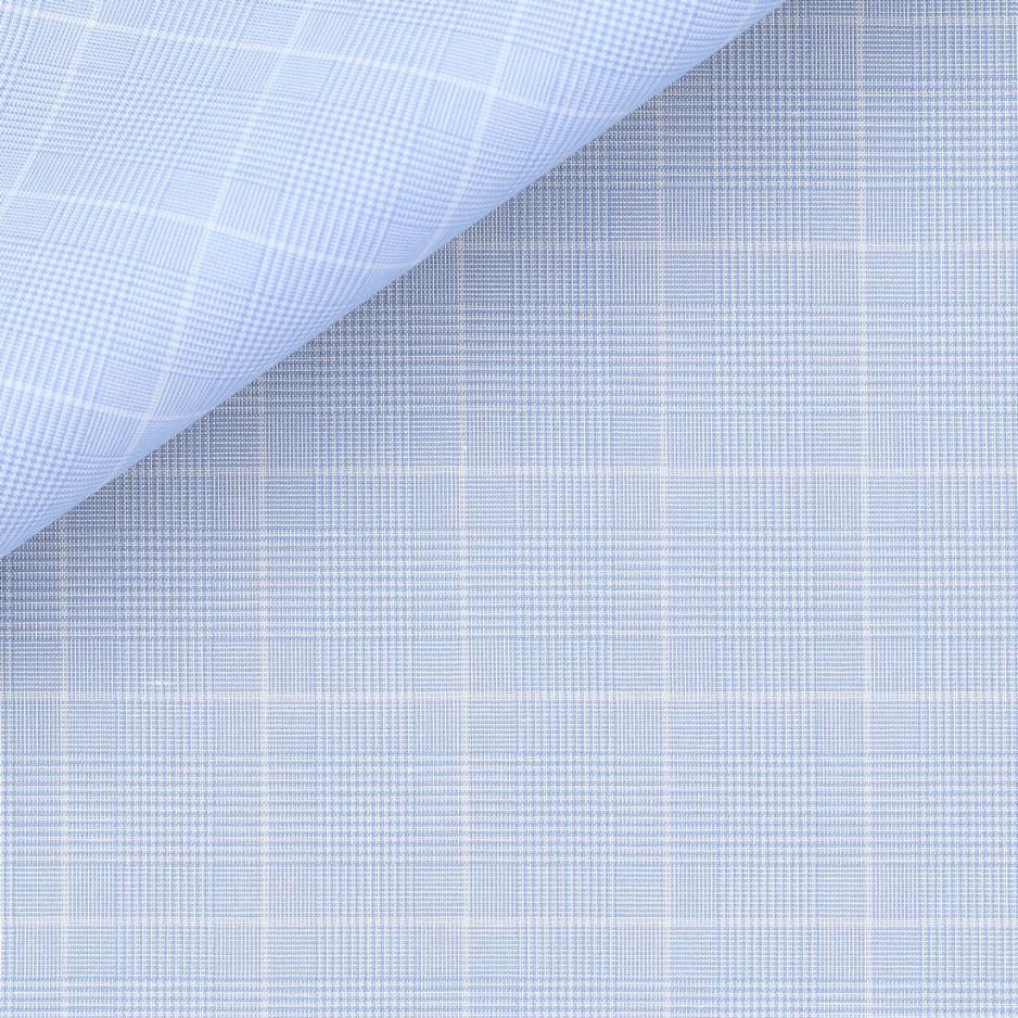 Popeline Carreaux Bleu Blanc