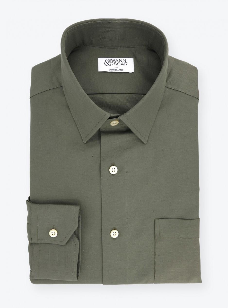 Chemise Tissu Coton/Lin Vert Olive
