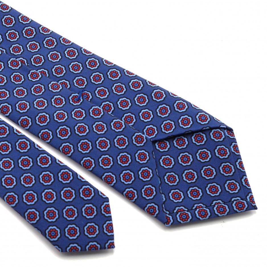 Cravate Bleue en Soie à Imprimée Florale