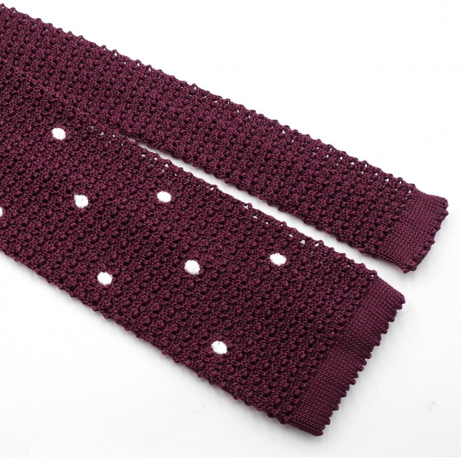 Cravate Bordeaux Grenadine de Soie «Knit Tie»