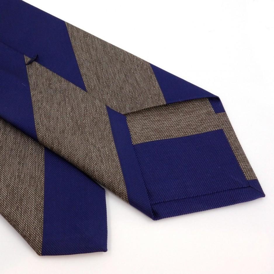 Cravate club en soie bleu et marron