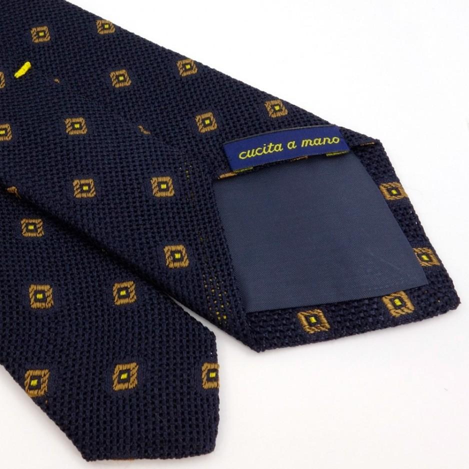 Cravate bleue à motif jacquard jaune