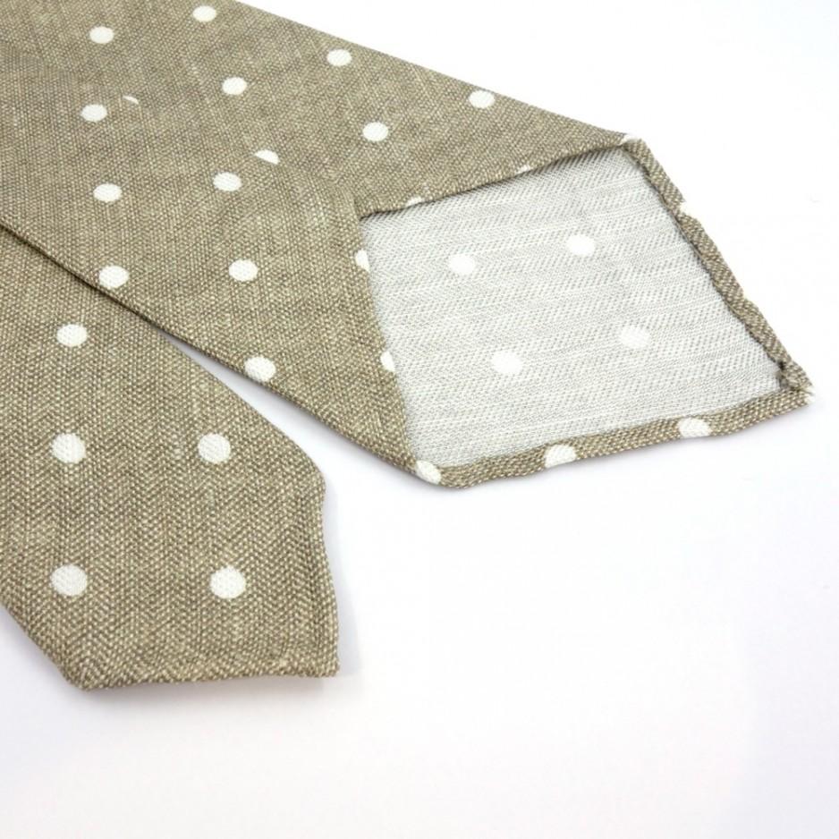 Cravate non doublée beige à pois