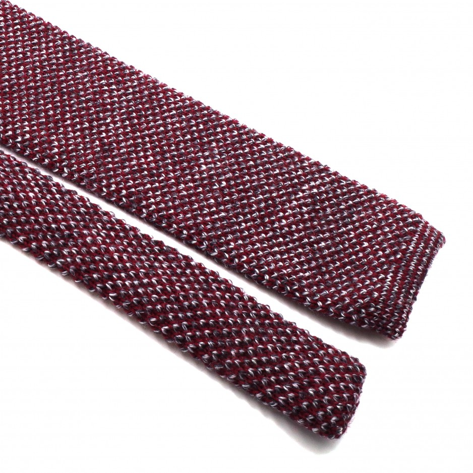 Cravate Tricot Mix Bordeaux