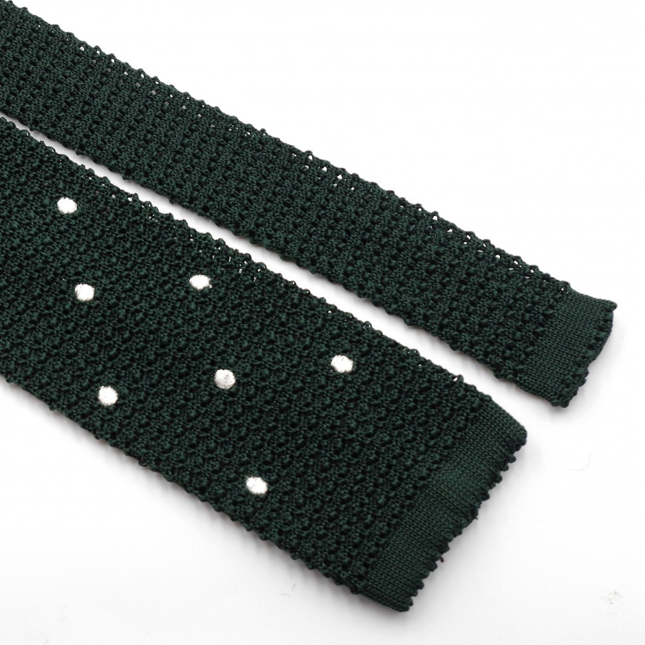 Cravate Verte Grenadine de Soie « Knit Tie »