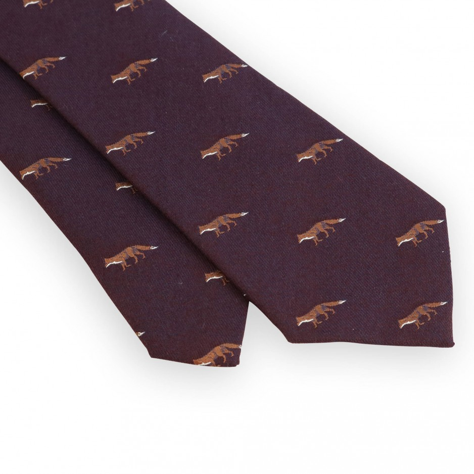 Cravate laine et soie bordeaux motifs chasse renard