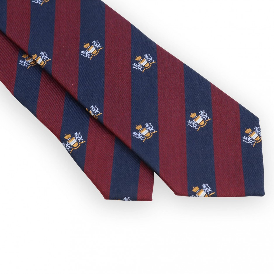 Cravate club bordeaux et marine blason ciel