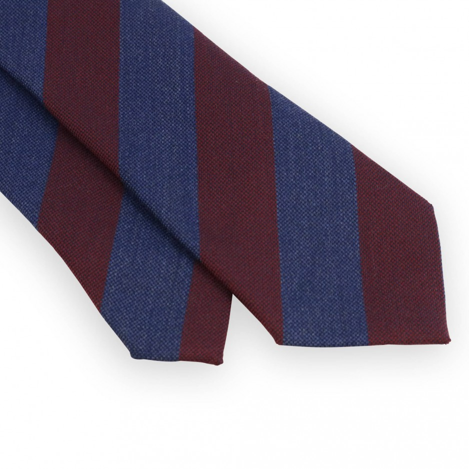Cravate club en laine et soie bordeaux et bleue