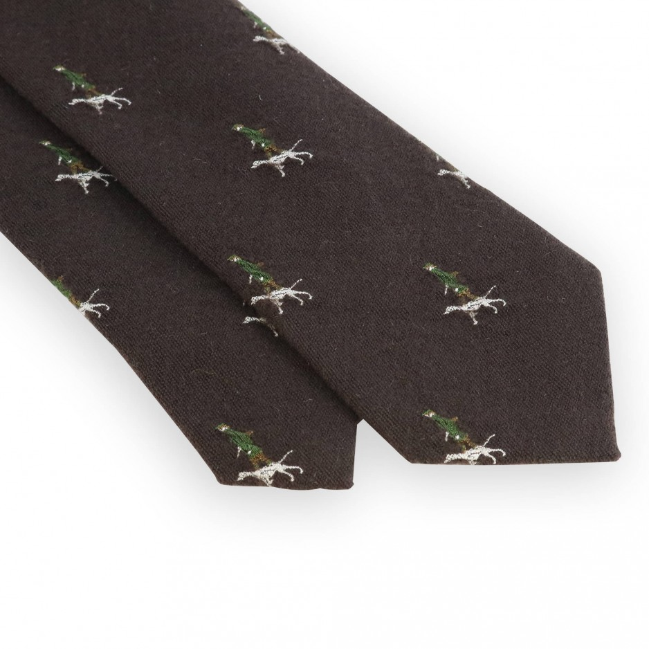 Cravate marron motifs chasseur