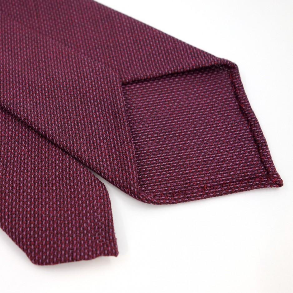 Cravate en laine rouge et mauve