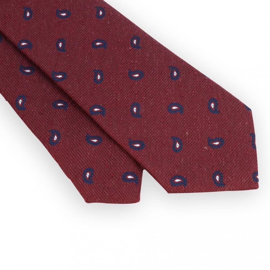 Cravate soie rouge motifs cachemire marine
