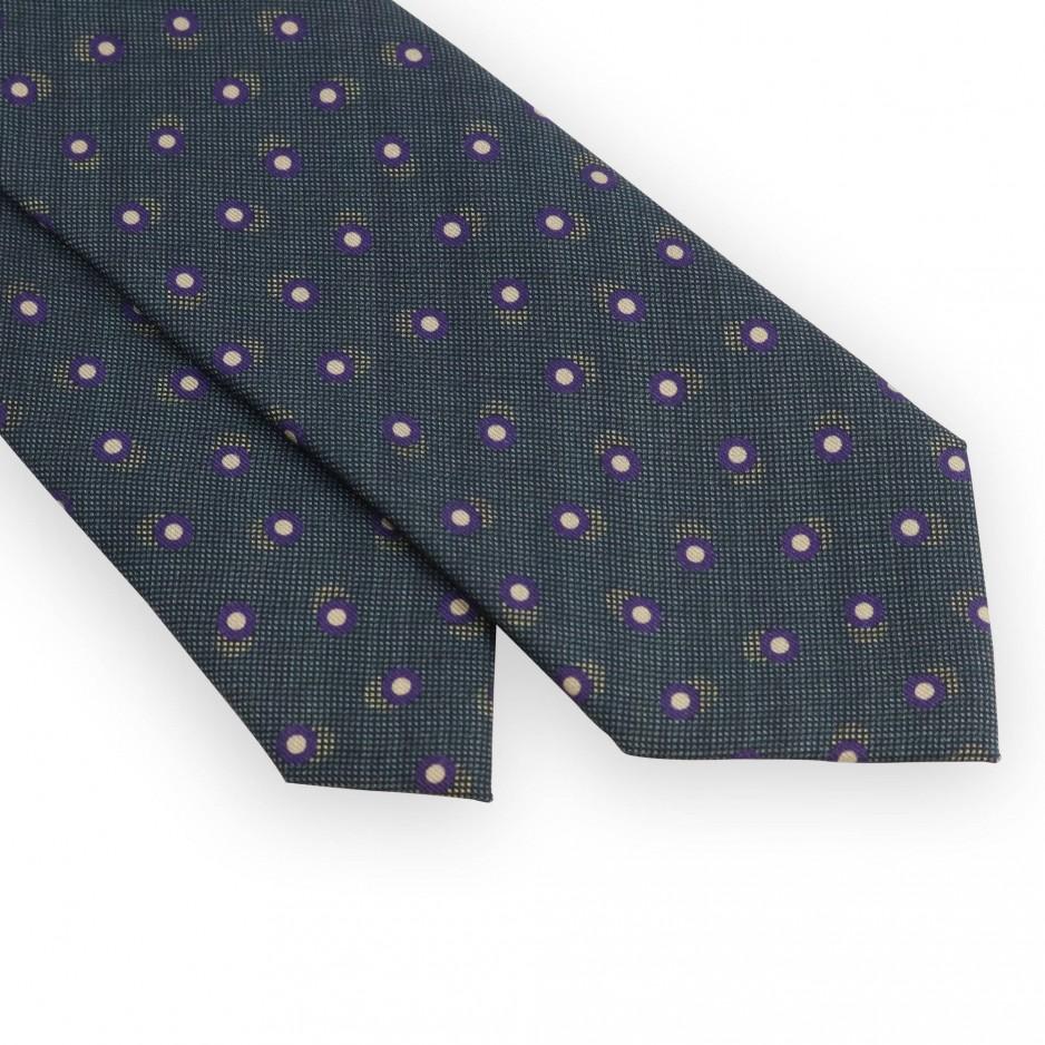 Cravate vert sapin pois violets et beiges