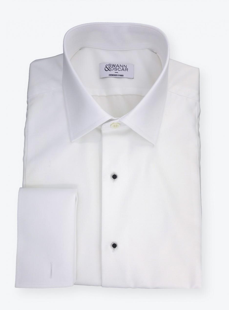 Chemise à Plastron Uni Blanc