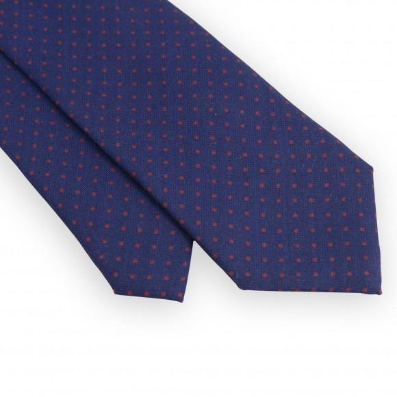 Cravate marine pois rouges