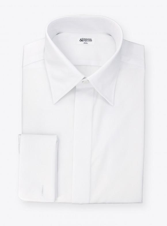 Chemise Popeline Uni Blanc