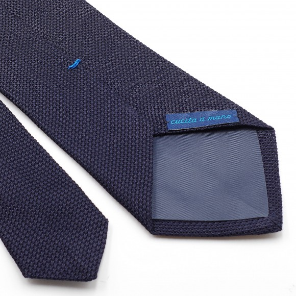 Cravate Bleue Grenadine de Soie « Garza Fina»