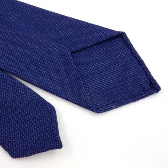 Cravate en laine faux-uni bleu