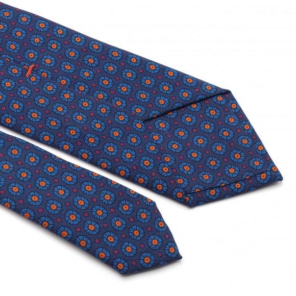 Cravate Bleue en Soie Imprimée