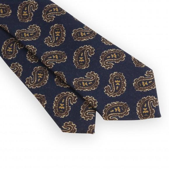 Cravate motifs cachemire marine