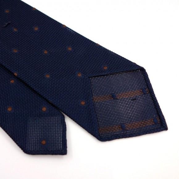 Cravate en grenadine de soie à pois marron