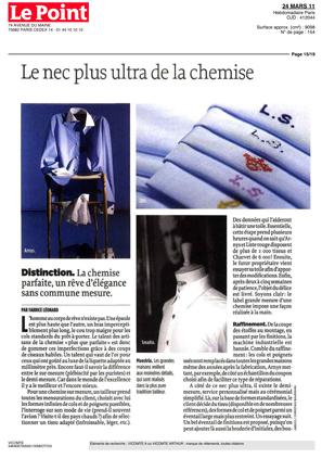 Magazine Le Point - Chemise sur mesure