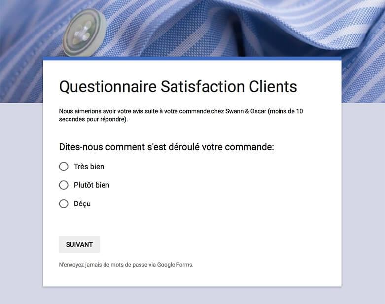 Questionnaire Satisfaction Clients - Chemises Swann