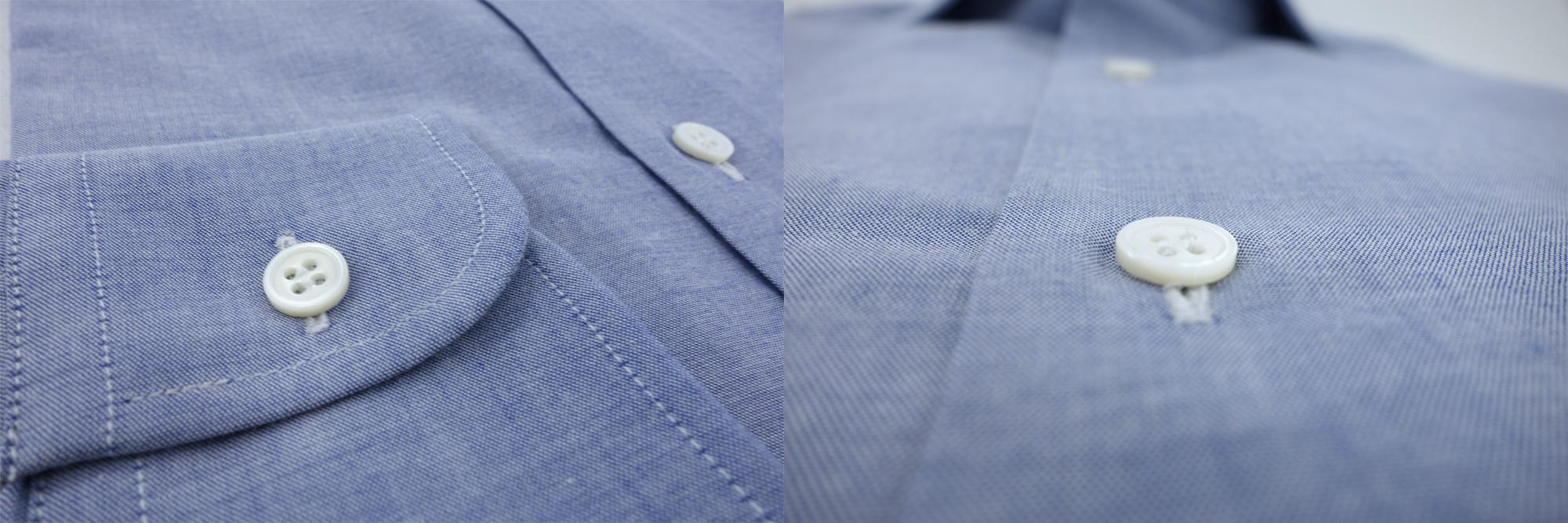 poignet un bouton chemise sans gorge chambray