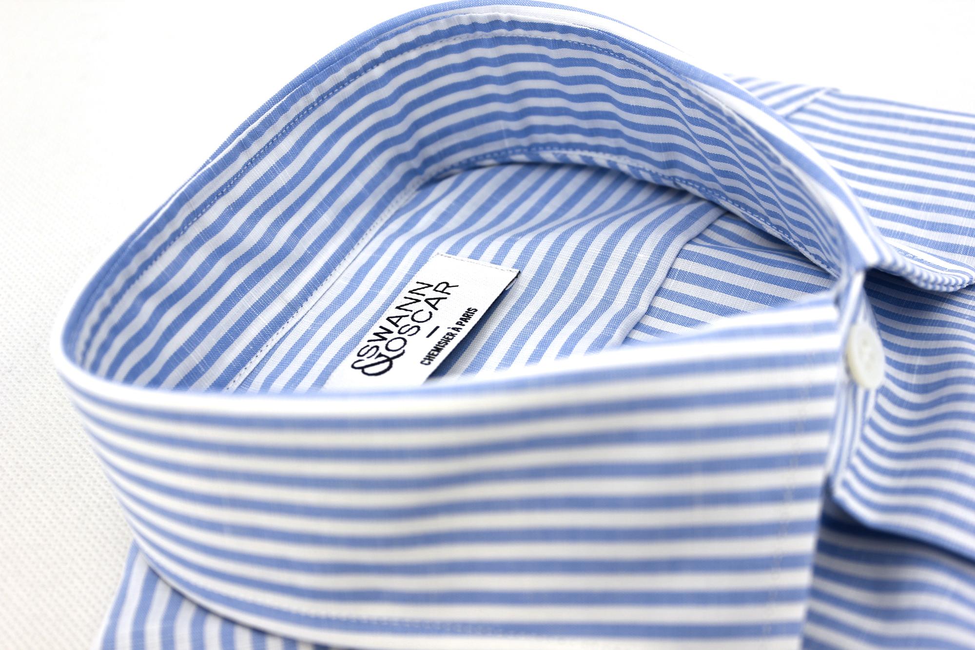 Chemise en coton et lin à rayures bleues