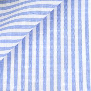 Tissu en coton et lin a rayures bleues