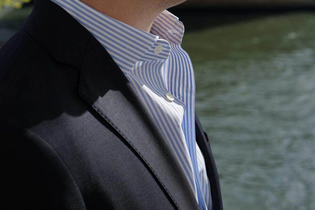 chemise en coton et lin costume bleu