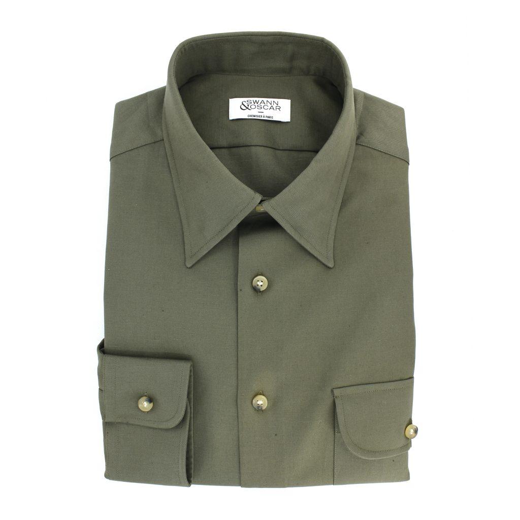 chemise twill uni vert coton lin
