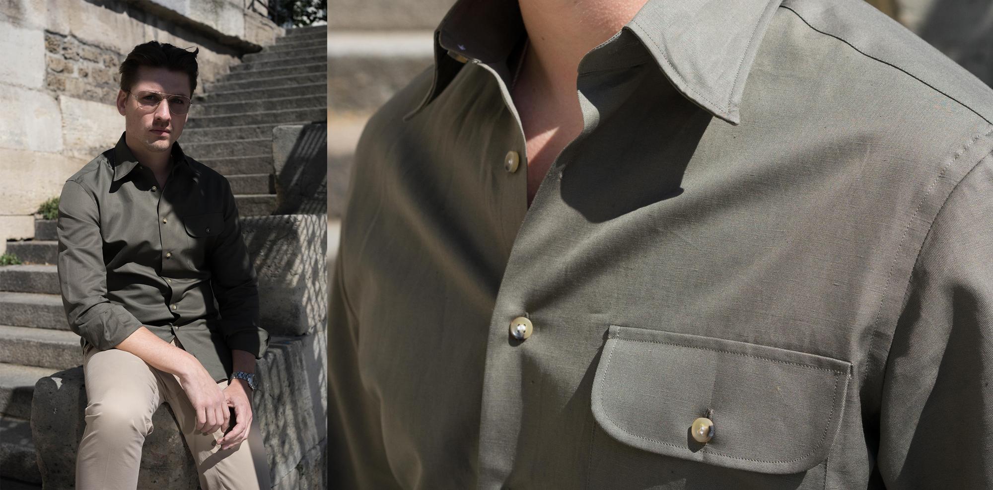 chemise safari vert olive