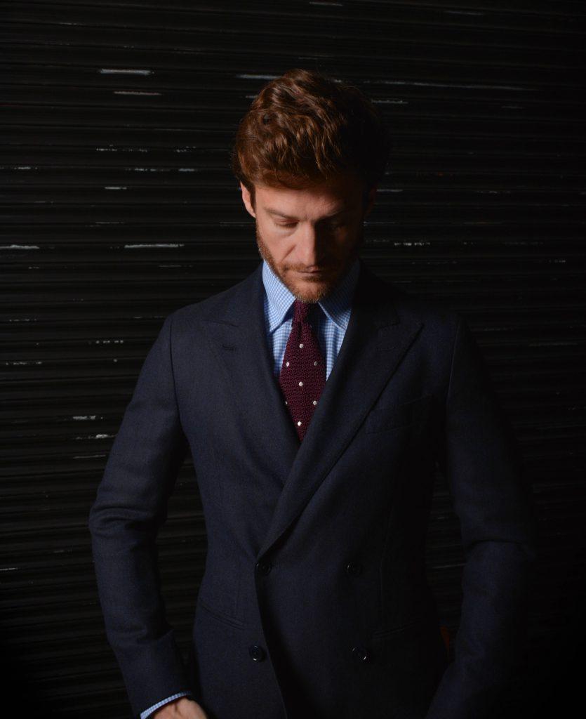 veste croisée bleu marine