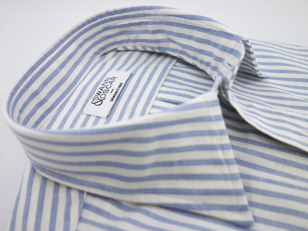 col chemise swann et oscar chambray rayé
