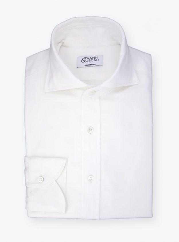 chemise en velours blanc casse