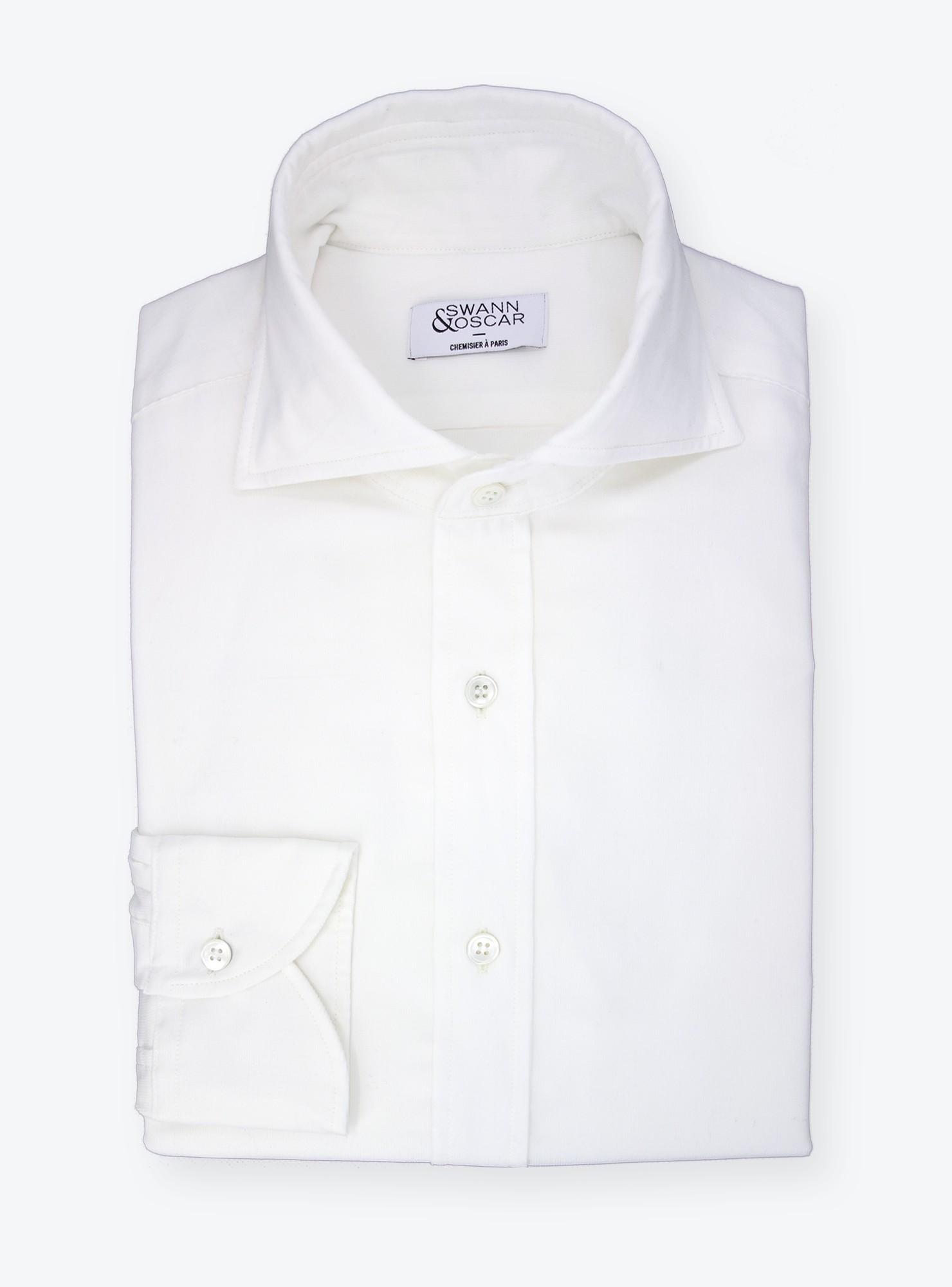 en soldes 39615 655e3 Chemise Velour Uni Blanc cassé CH082008   Swann & Oscar