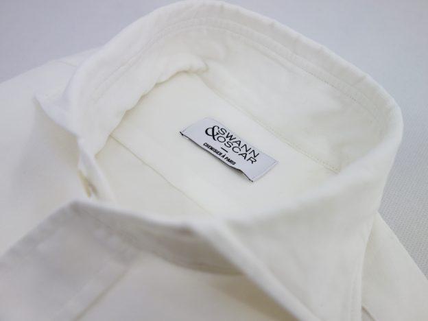 Col positano chemise velours blanc casse