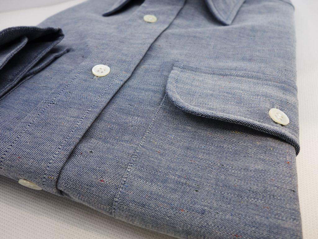 poche rabat bouton chemise chambray