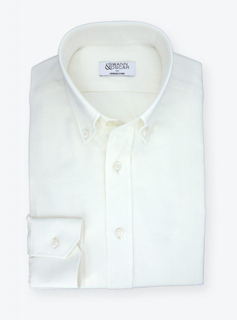 chemise oxford laine blanc ecru
