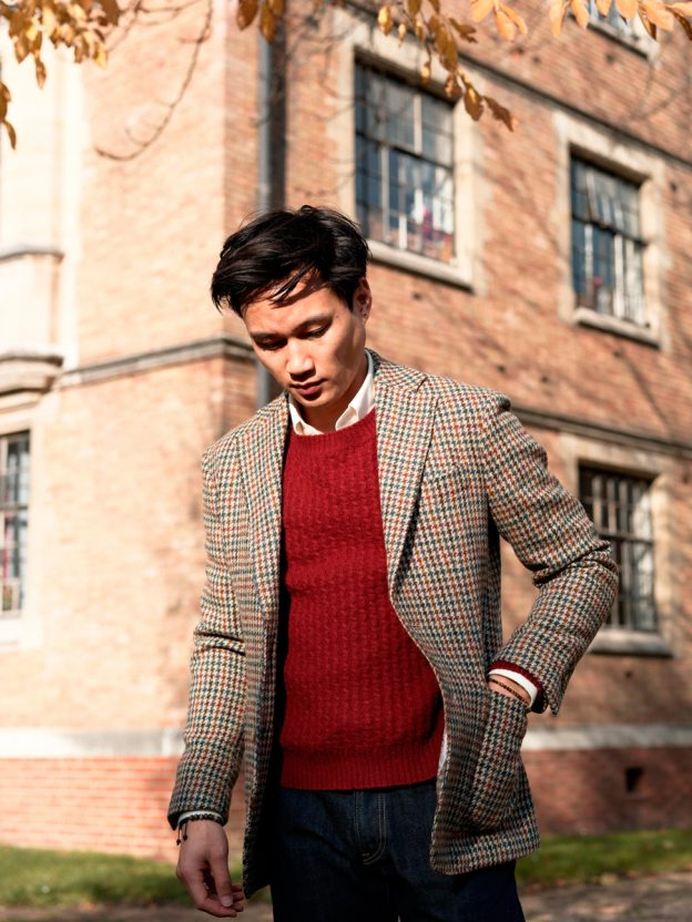 Veste harris tweed Pull rouge