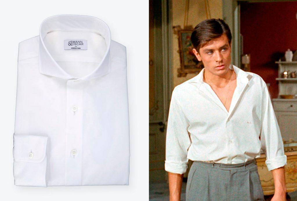 chemise blanche ouverte alain delon