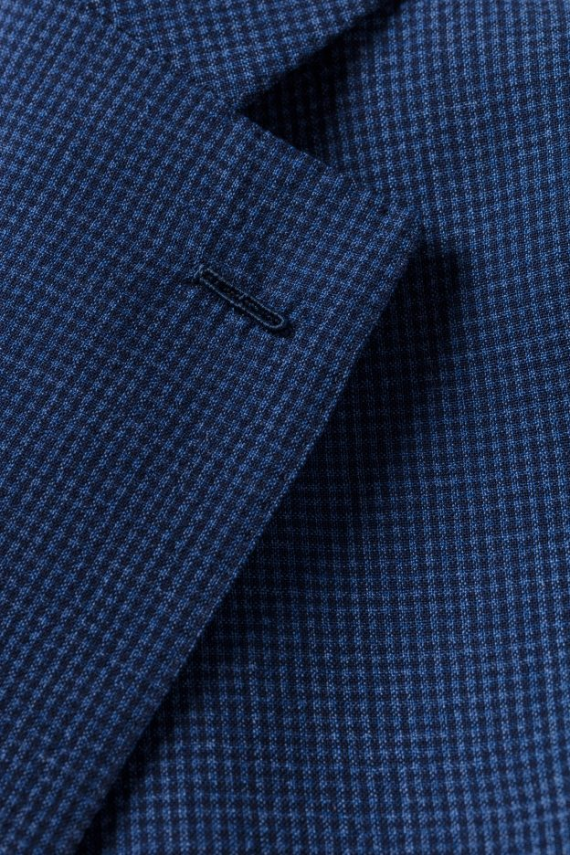 boutonniere milanaise veste seersucker bleu