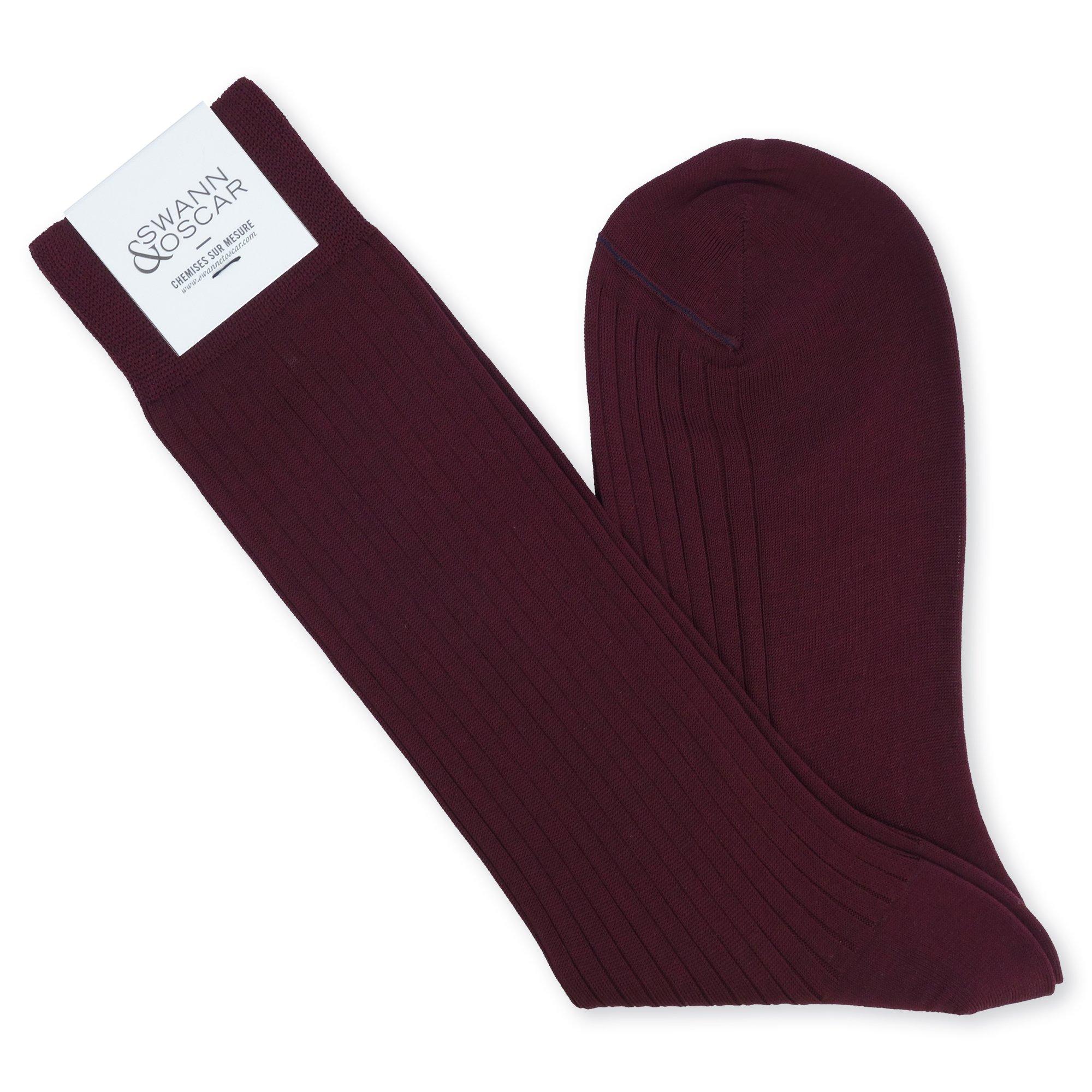 chaussettes fil d'ecosse rouge bordeaux