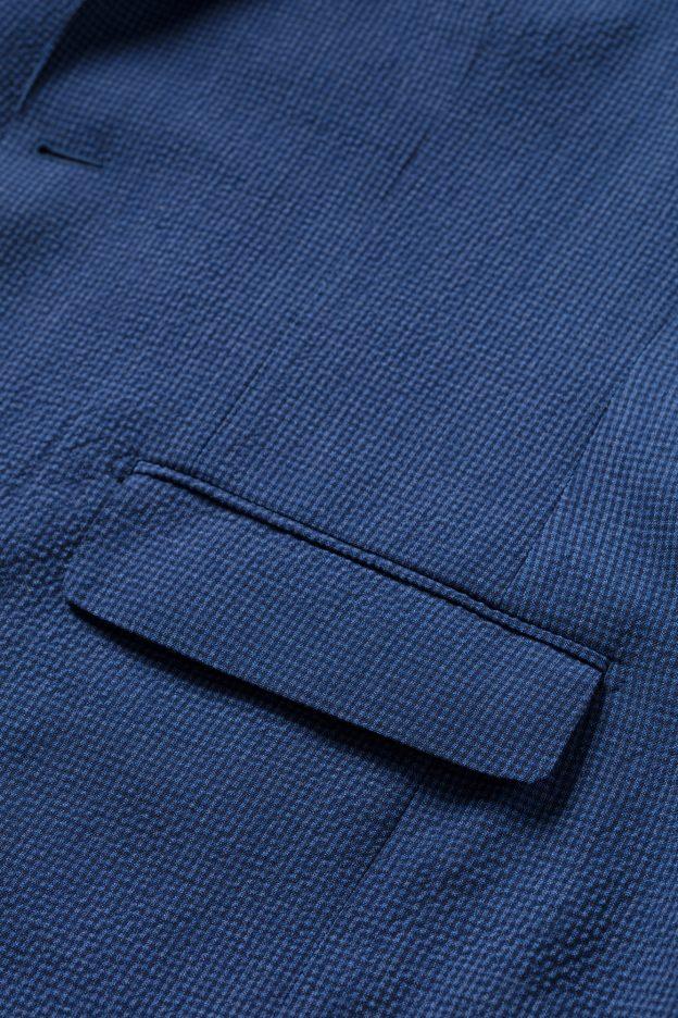 poche rabat veste seersucker bleu