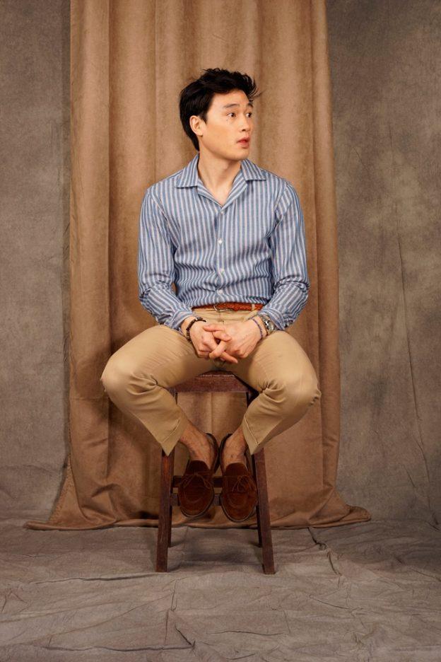 chemise col ouvert denim Japonais
