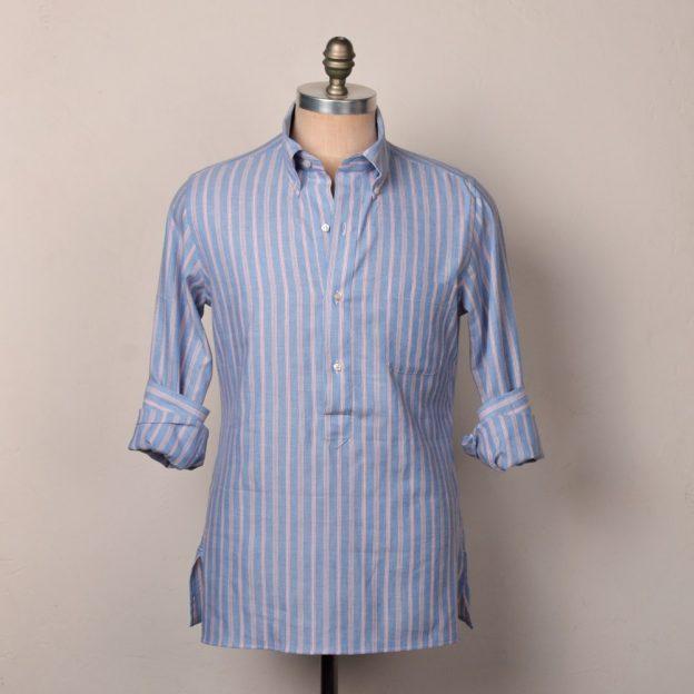 chemise oxford rayé bleu rouge gorge leda